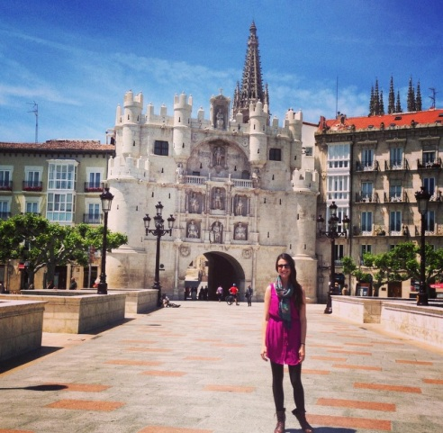 Looking oh-so-tan outside the walled city of Burgos